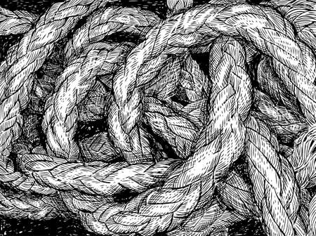 Vector illustration of a tangled rigging rope