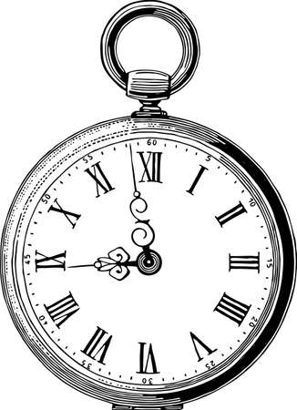 Vector drawing of an antique pocket watch