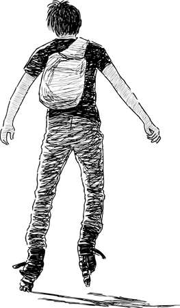 A boy rides on the roller skates Illustration
