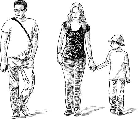 Young family go on a stroll Vetores