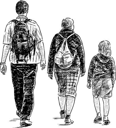 Sketch of a walking young family