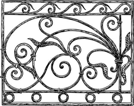 Drawing of a vintage fence. 向量圖像