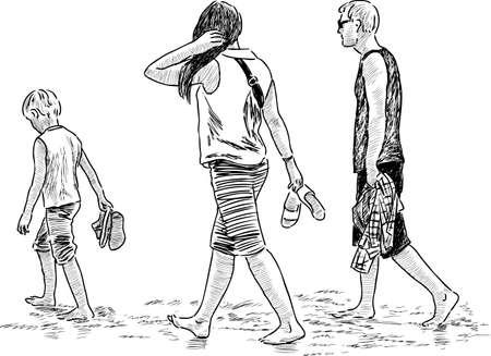 A family walks on the beach Vetores