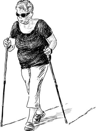 Sketch of an elderly woman at the nordic walk Stock Illustratie