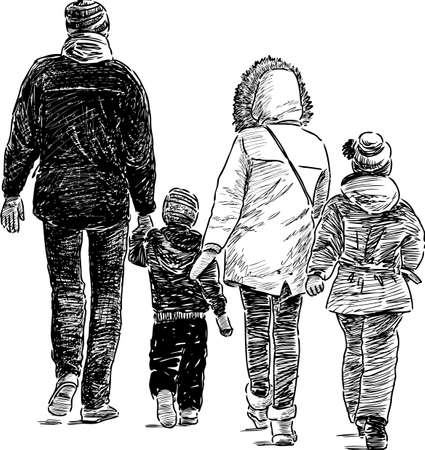 Sketch of a city family on a stroll Vetores
