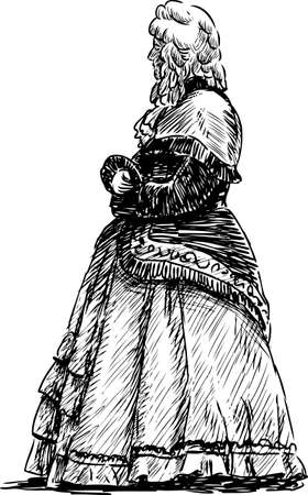Sketch of a woman in the historical dress of the 18th century