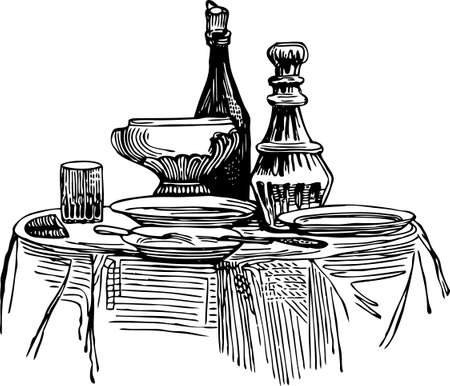 Vector drawing of a vintage decorated table for dinner Illustration