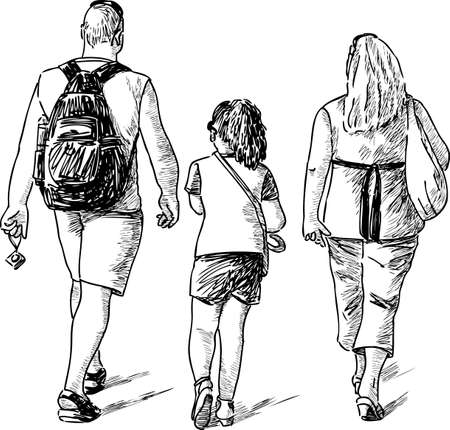 sightseers: Tourists family go on a stroll Illustration