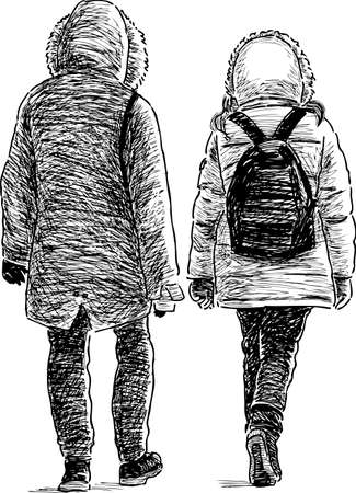 striding: A couple of townspeople go on a stroll Illustration