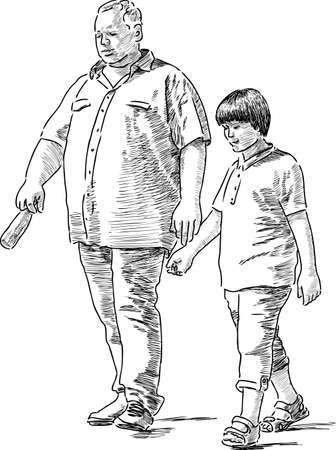 Grandfather with his grandson go on a stroll