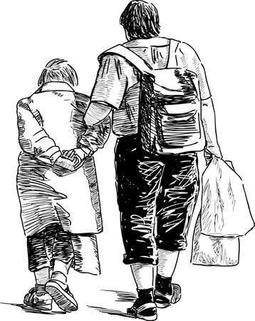 Grondmother with her grandson are on a walk Illustration