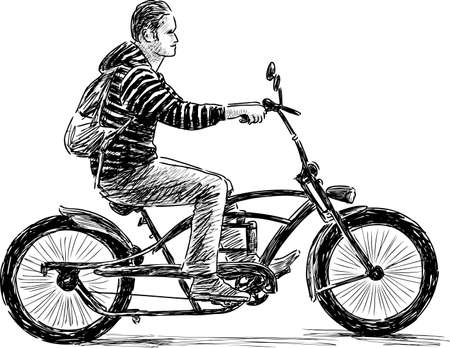 backview: A city biker rides on a bicycle