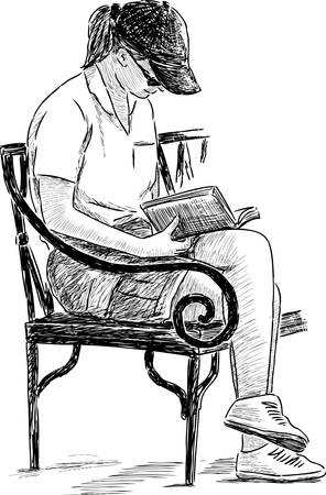 A girl reads a book on the park. Illustration