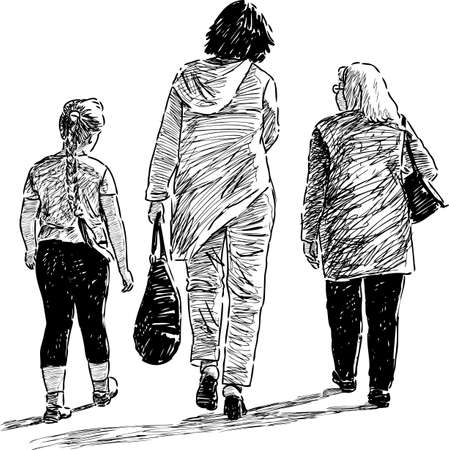 striding: Female family go on a stroll