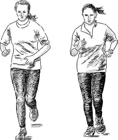 Esbozo de una niña corriendo Foto de archivo - 89286752