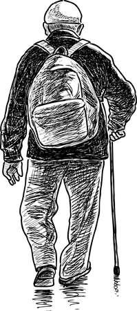 Een oude man loopt Stock Illustratie