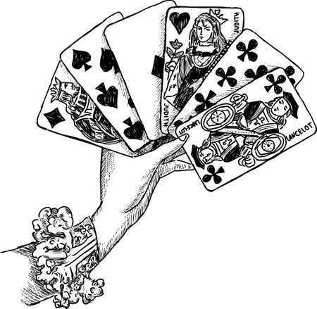 Illustration of a female hand with the playing cards