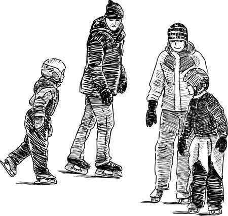 A family of townspeople on the ice rink.