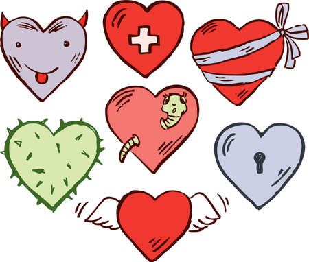 Vector image of the different cartoon hearts.