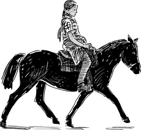 A little girl is engaged in horse riding Vetores