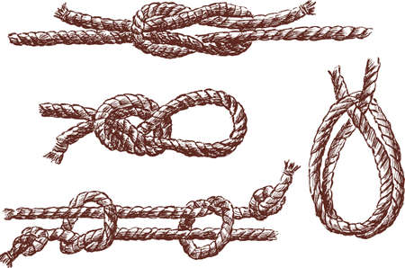 Vector image of the ropes in the different knots
