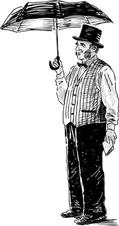 Sketch of a man in the vintage costume