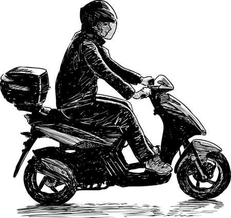 Man riding a motorbike icon. Illustration