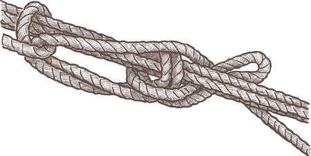 Image of a fragment of rigging rope Illustration