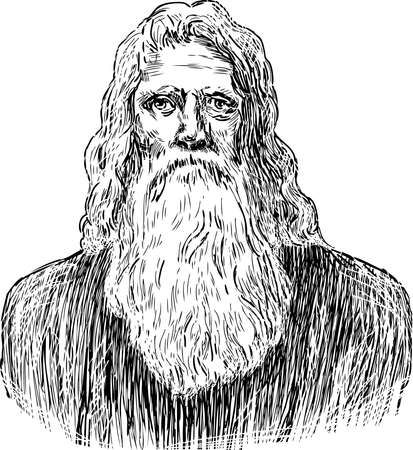 Sketch of a peasant of the 19th century.. Illustration