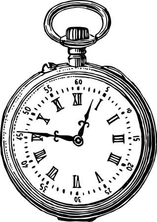 Drawing of a vintage pocket watch