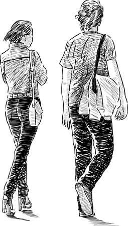 Skizze der schlendernden Jugendlichen