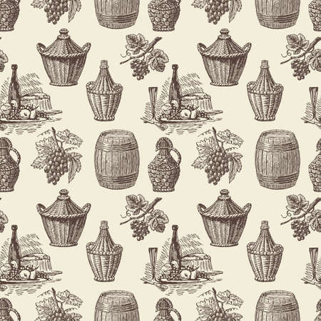 Pattern of the theme of grape wine Ilustração