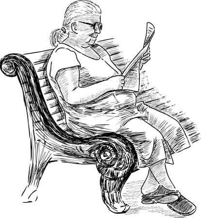 An elderly woman reads a newspaper on a park bench. Illustration