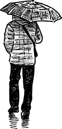 A townsman walks in the rain. Ilustração