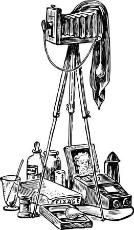 Vector drawing of a vintage photo camera