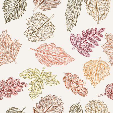 Vectorpatroon van de getrokken de herfstbladeren
