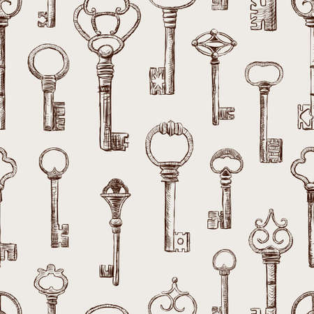 Vector background of theold drawn keys