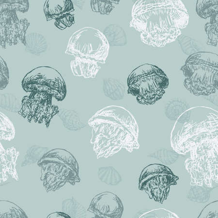 Vector pattern of the drawn jellyfishes Çizim