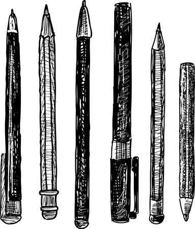 Sketches of pencils and pens
