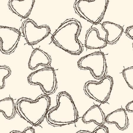 Modello vettoriale del filo spinato nelle forme dei cuori Archivio Fotografico - 86198481