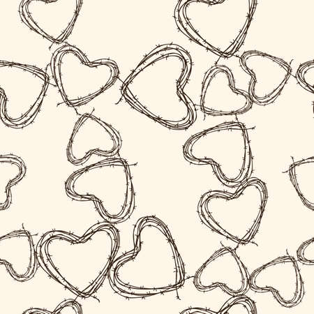 Vector pattern of the barbed wire in the shapes of the hearts