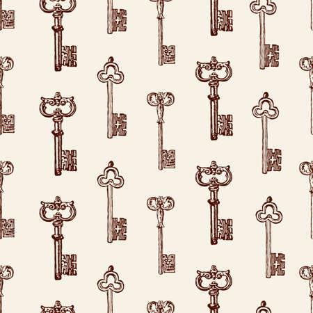 描画された古いキーベクトル図のベクトルパターン