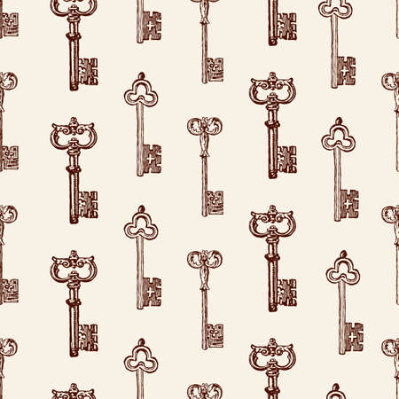 Vector pattern of the drawn old keys vector illustration