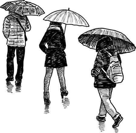 Sketches of the urban pedestrians under umbrellas.