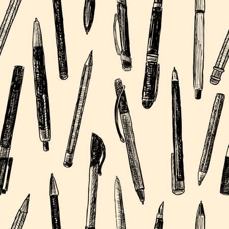 Vector background of the different drawn pens
