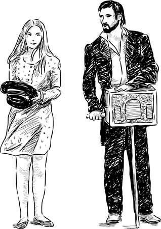 Sketch of the casual street performers Illustration