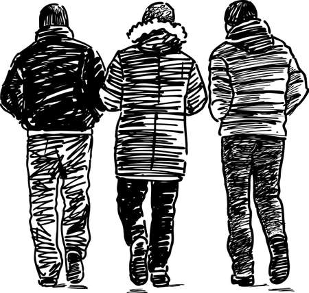 Sketch of the casual male pedestrians. Illustration