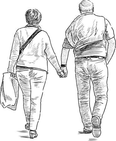 An elderly couple of townspeople go on a stroll. Illustration