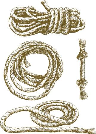 もつれたロープのスケッチ。  イラスト・ベクター素材