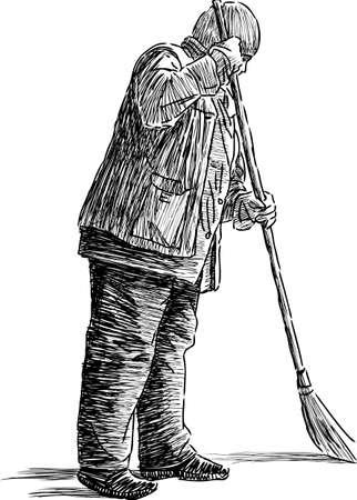 Schets van een toevallige straatveger Stock Illustratie
